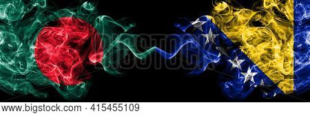 Bangladesh, Bangladeshi Vs Bosnia And Herzegovina, Bosnian, Herzegovinian Smoky Mystic Flags Placed