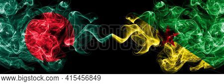 Bangladesh, Bangladeshi Vs France, French Guiana Smoky Mystic Flags Placed Side By Side. Thick Color