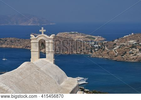 Panoramic View From The Rooftop Of A Greek Orthodox Chapel In Ios Cyclades