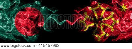 Bangladesh, Bangladeshi Vs Occitania Smoky Mystic Flags Placed Side By Side. Thick Colored Silky Abs