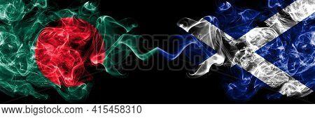 Bangladesh, Bangladeshi Vs Scotland, Scottish, Scots Smoky Mystic Flags Placed Side By Side. Thick C