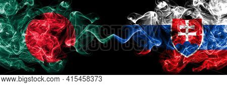 Bangladesh, Bangladeshi Vs Slovakia, Slovakian Smoky Mystic Flags Placed Side By Side. Thick Colored