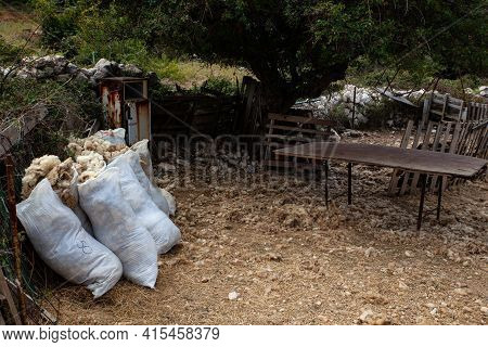 View Of Freshly Sheared Sheep's Wool Flakes In The Bags