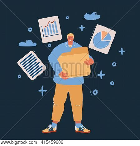 Vector Illustration Of Man Holding Big Opened File Folder. Office Worker And Employee, Paperwork, Co