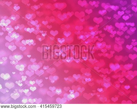 Background Of Pink Gradient Hearts With Boke Effect