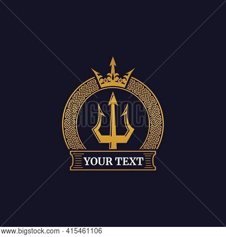 Golden Trident Badge With Crown. Illustration Of A Trident Emblem With A Crown On A Navy Blue Backgr