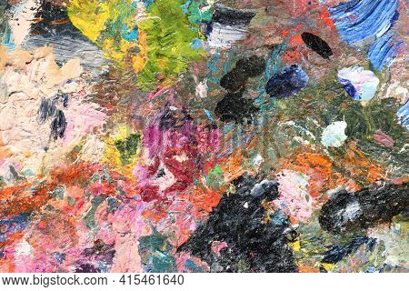 Abstract Colorful Oil Painting Strokes. Colorful Pink And Black Brushstroke Background. Mixed Oil Pa