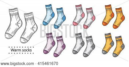 Pair Warm Socks Icon Set. Cotton Or Wool Textile Clothes For Feet With Ornament. Knitted Casual Or S
