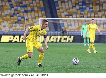 Kyiv, Ukraine - March 28, 2021: Oleksandr Zinchenko Of Ukraine Controls A Ball During The Fifa World