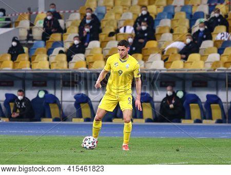 Kyiv, Ukraine - March 28, 2021: Roman Yaremchuk Of Ukraine Controls A Ball During The Fifa World Cup