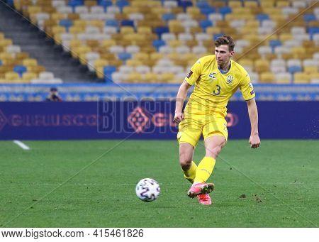 Kyiv, Ukraine - March 28, 2021: Defender Illia Zabarnyi Of Ukraine Controls A Ball During The Fifa W