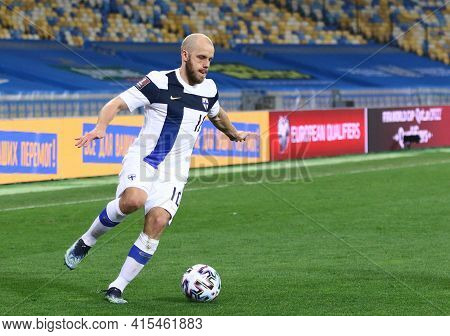 Kyiv, Ukraine - March 28, 2021: Teemu Pukki Of Finland Controls A Ball During The Fifa World Cup 202