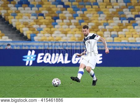 Kyiv, Ukraine - March 28, 2021: Joona Toivio Of Finland Kicks A Ball During The Fifa World Cup 2022