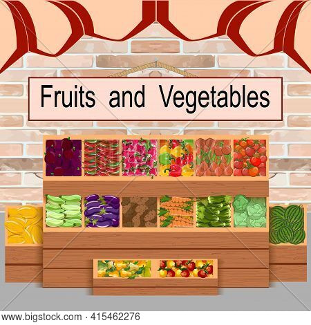 A Counter With Fruits And Vegetables.colored Vector Illustration With Vegetables And Fruits On The C