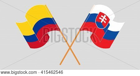 Crossed And Waving Flags Of Colombia And Slovakia