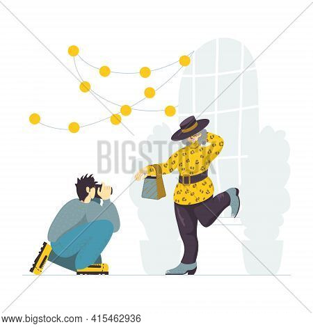 A Vector Illustration Of An Elderly Female Blogger Posing In Front Of The Camera. Content Photoshoot