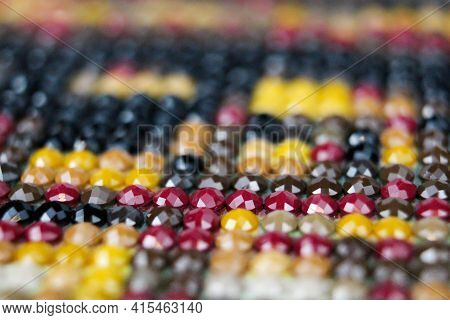 Closeup On Colorful Mix Of Round Drill Beads For Diamond Painting. Multicolored Rainbow Of Shiny Bea