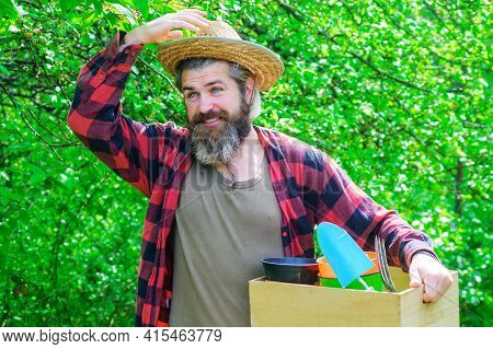 Spring. Bearded Man With Gardening Tools. Happy Farmer In Spring Garden. Gardener With Gardening Too
