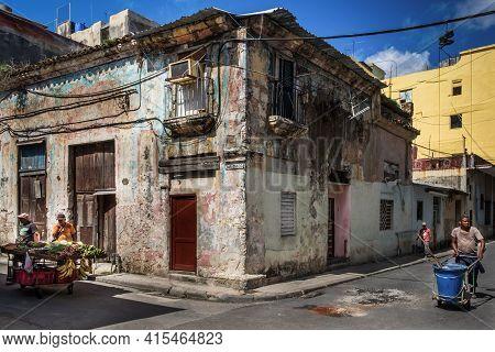 Havana, Cuba, July 2019, Urban Scene In Calle San Ignacio A Street In The Oldest Part Of The City