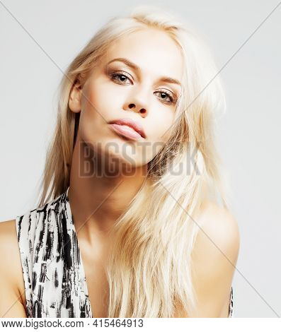 Young Pretty Woman With Blond Hair On White Background, Sensual Makeup, Fashion Sexy Look, Lifestyle