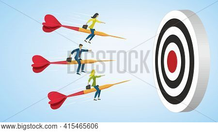 Businesspeople Riding Arrows To Goal, Dartboard. Dimension 16:9. Vector Illustration. Eps10.