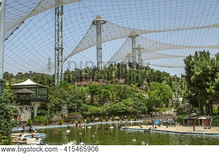 Tehran,iran,july 07,2020:a Structure Of Iron Struts With A Strong Mesh Stretched Over It Covers Gard