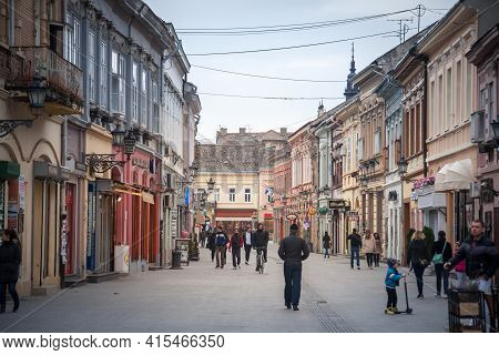 Novi Sad, Serbia - March 11, 2017: Selective Blur On People On Dunavska Ulica Street, The Pedestrian