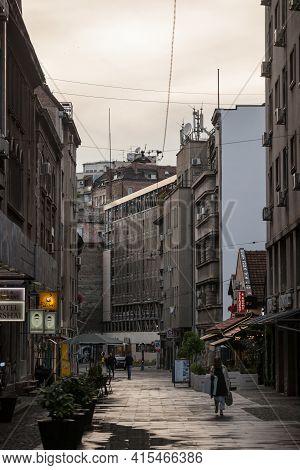 Belgrade, Serbia - June 9, 2020: People Walking On Marsala Birjuzova Street In Stari Grad District O