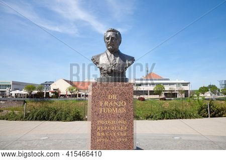 Vukovar, Croatia - April 20, 2018: Statue Of Franjo Tudman Erected In The Center Of Vukovar. Franjo
