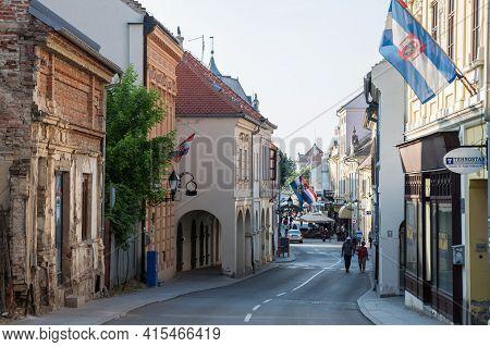 Vukovar, Croatia - May 11, 2018: Franjo Tudjman Street, The Main Street Of The Slavonia City Of Vuko