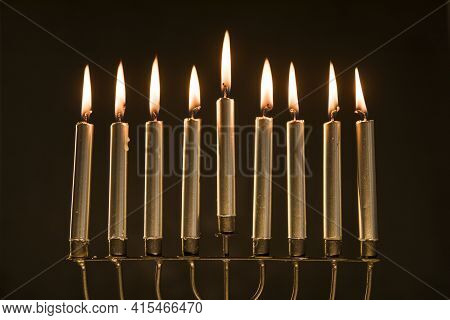 Magnificent Menorah With Burning Candles . High Quality And Resolution Beautiful Photo Concept