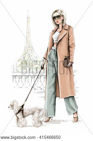 Beautiful Blond Hair Girl With Dog. Fashion Girl With Eiffel Tower Background. Stylish Woman In Coat