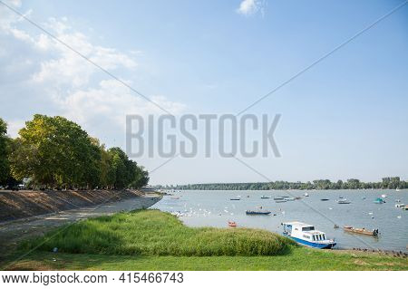Zemun Quay (zemunski Kej) In Belgrade, Serbia, On The Danube River, Seen In Summet During A Sunny Af