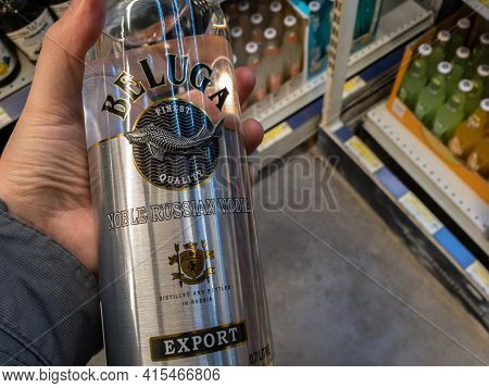 Belgrade, Serbia - March 21, 2021: Beluga Vodka Logo On Some Bottles For Sale. Beluga Noble Vodka A