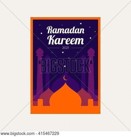 Ramadan Kareem Simple Flat Poster, Greeting Card, Invitation Template Vector Illustration Design