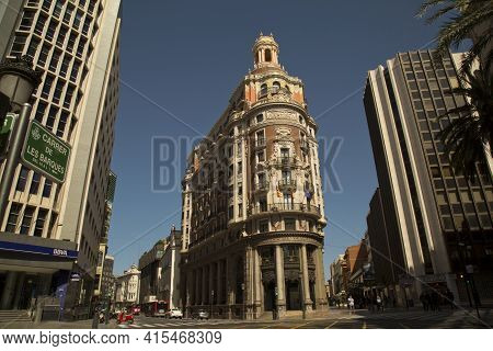 Valencia, Spain, 24 April 2017. Building Of The Old Bank Of Valencia.