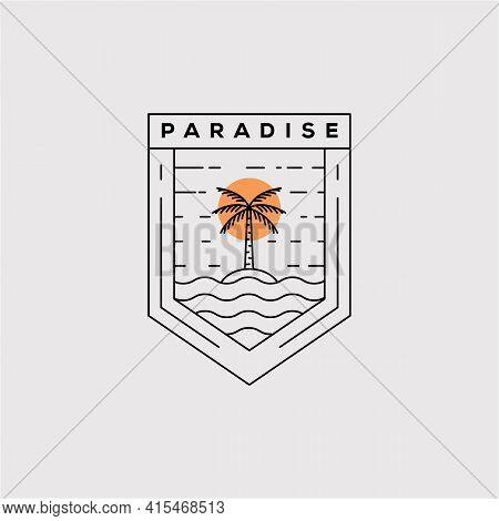 Paradise Line Art Logo Vector Illustration Design. Coconut Tree Minimalist Badge Icon. Palm Tree Out