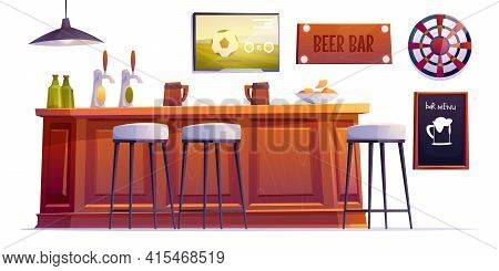 Beer Bar Stuff, Pub Desk With Bottles And Cups, High Stools, Drinks, Menu Board, Darts And Televisio