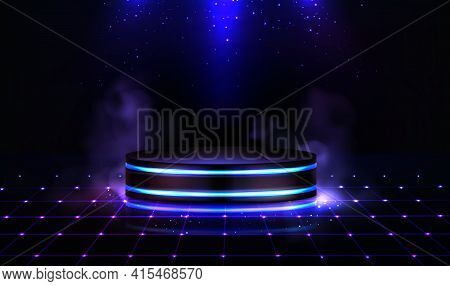 Neon Podium With Smoke And Sparkles. Empty Stage In Nightclub, Dance Floor With Pedestal, Steam And