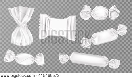 White Candy Wrappers Set. Blank Package For Lollipops, Chocolate, Truffle And Pouch Sweets Productio