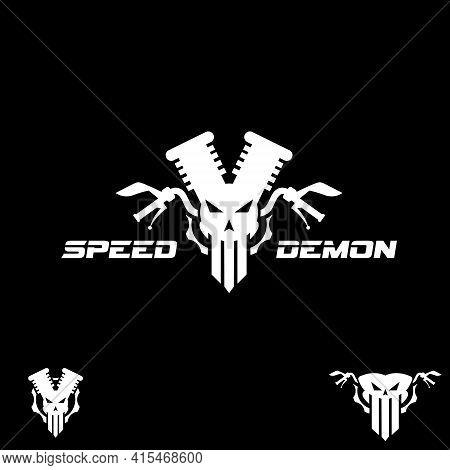 Speed Demon Vector Symbol Automotive Symbol Combining Skull, Engine, Cog, And Steer For Beast Look