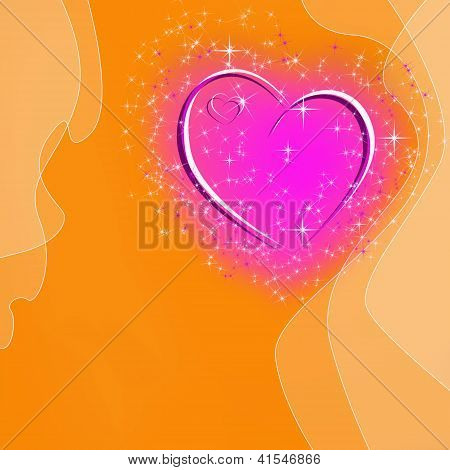 Abstract Orange Background With Glowing Pink Heart And Stars And Space For Text