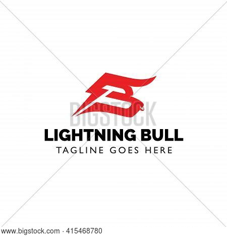 Letter B Energetic Mad Bull Charge In Simple Modern Style
