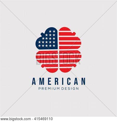 American Clover Flag Logo Vector Illustration Design. Playing Card Symbol