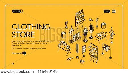 Clothing Store Isometric Landing Page, Cloth Shop Interior With Mannequins, Shelves With Discount Pr