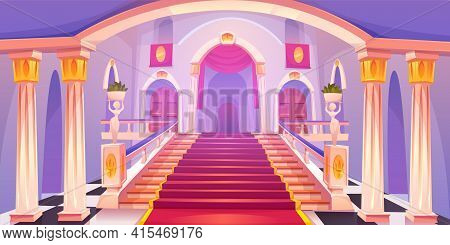 Castle Staircase, Upward Stairs In Palace Entrance With Pillars, Statues, Red Rag And Wooden Doors,