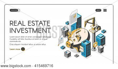 Real Estate Investment Isometric Landing Page, Huge Piggy Bank Surrounded With Skyscrapers And Build