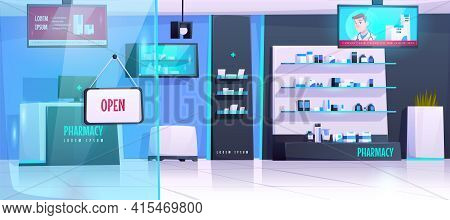 Pharmacy Interior, Drugstore With Medical Products On Shelves. Vector Cartoon Illustration Of Empty
