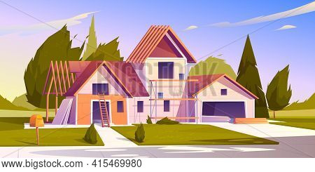 Unfinished House Construction. Vector Cartoon Illustration Of Construction Site, Incomplete Building