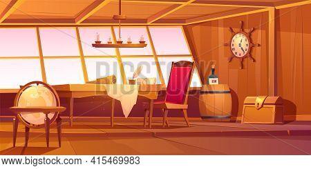 Pirate Capitan Ship Cabin. Vector Cartoon Illustration Of Wooden Room Interior, Globe, Treasure Ches